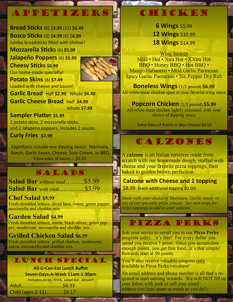 Pizza carry out menu related keywords pizza carry out for Carryout menu